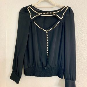 Bebe Black Open Back Blouse with Gold Studs